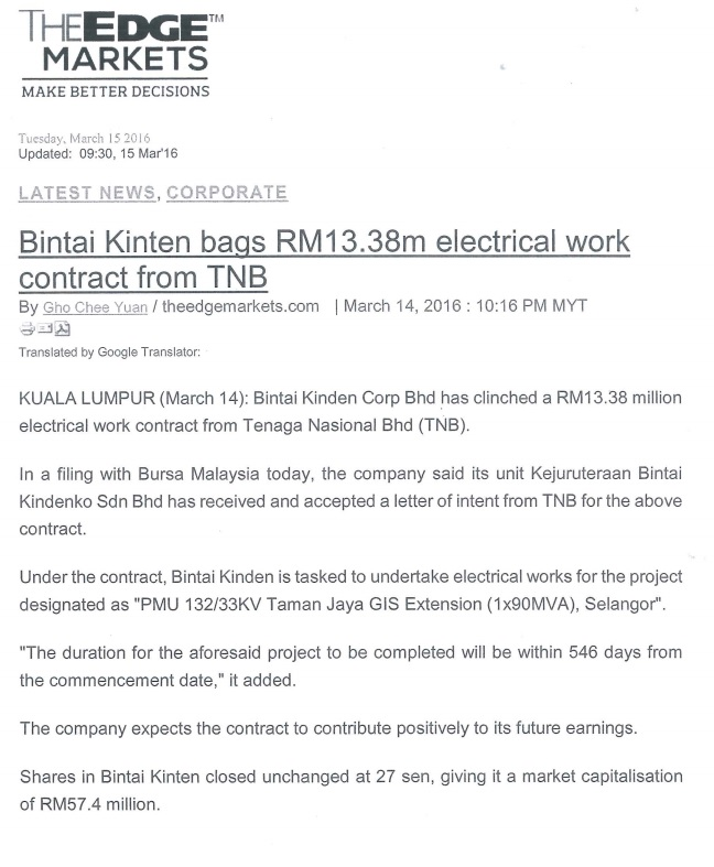 Bintai Kinden Bags RM 13.38m Electrical Work Contract From TNB-15 Mar 2016