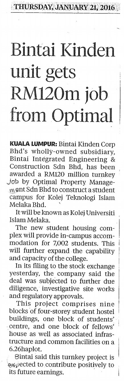 Bintai Kinden units Gets RM120m Job From Optimal-21 Jan 2016-New Straits Times