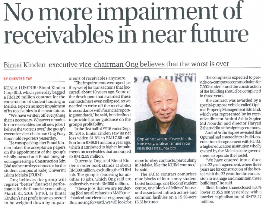 No More Impairment Of Receivables In Near Future-21 Jan 2016 - The Edge Financial Daily